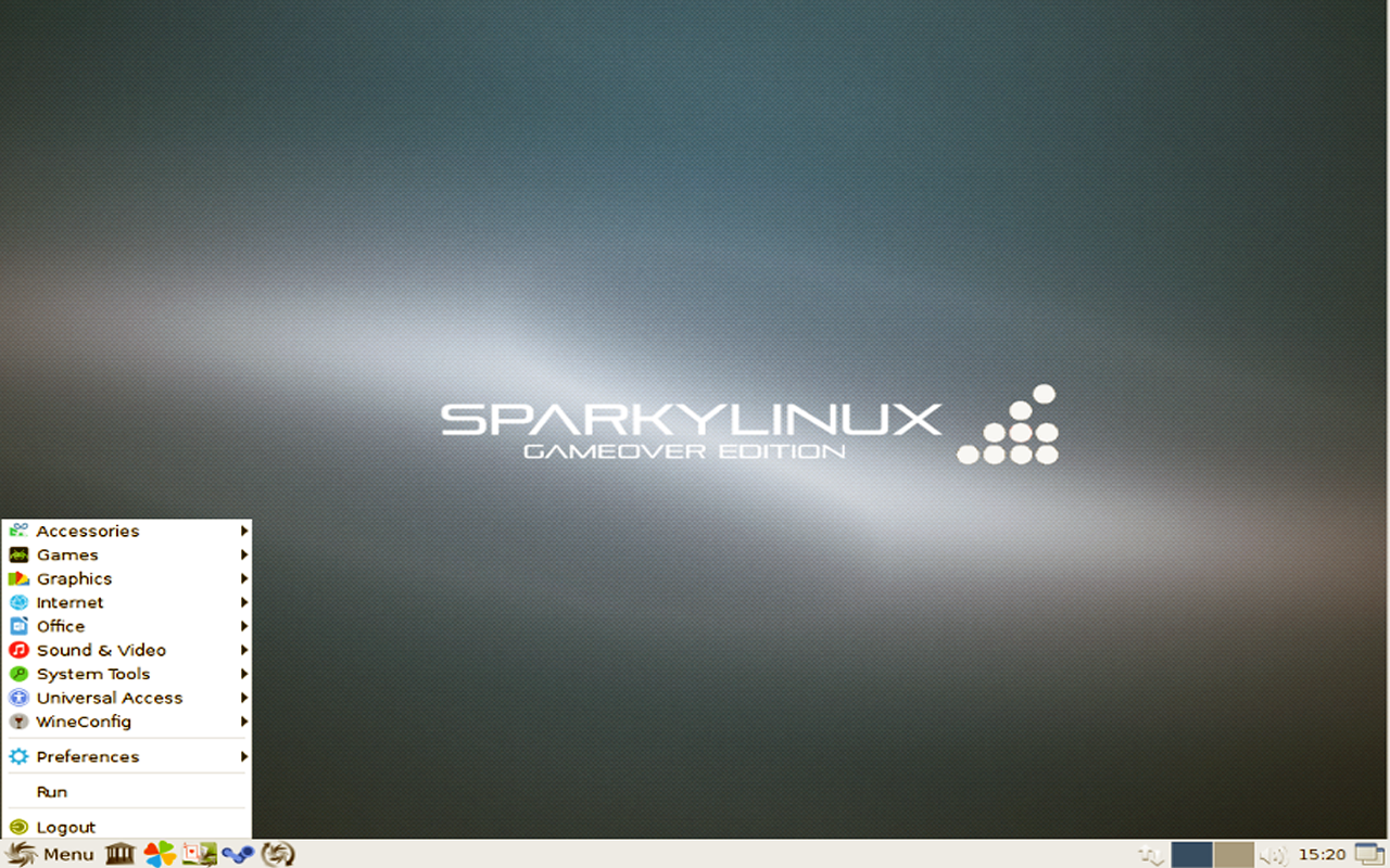 sparky linux gameover edition desktop